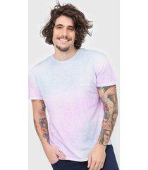 camiseta jack & jones sunset tie dye roxa/azul