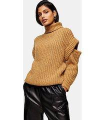 camel split shoulder roll neck knitted sweater - camel