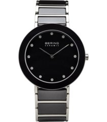 bering ladies ceramic bezel and smooth black link watch