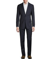 armani collezioni men's standard-fit check virgin wool suit - blue - size 54 (44) r
