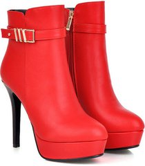 pb110 elegant high-heeled martin booties w gold buckles, us size 4-9, red