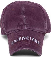 distressed effect baseball cap grape purple