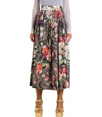 dries van noten pleated midi skirt with floral pattern
