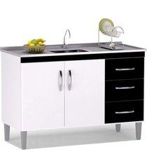 balcão gabinete de pia 100cm 2 portas 3 gavetas isabel branco/preto - ajl móveis
