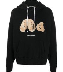 palm angels teddy-print hoodie - black
