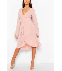 plunge neck trim detail midi dress, soft pink