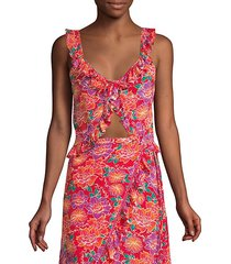 ali floral ruffle silk-blend crop top