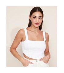top cropped feminino mindset corset alça larga decote reto branco