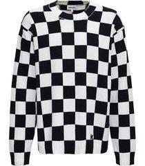 kenzo black and white cotton check sweater