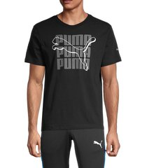 puma men's logo graphic short sleeve t-shirt - black - size l