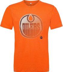 edmonton oilers fade 2 core graphic t-shirt t-shirts short-sleeved orange fanatics