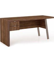 mesa para escritório 2 gavetas me4122 tecno mobili nogal e bege videira - tricae