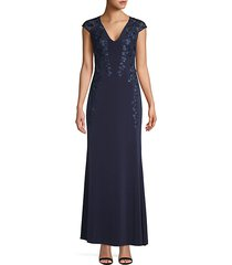cap sleeve embroidered gown