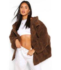 oversized faux fur teddy jas, chocolade
