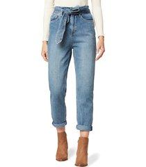 women's joe's the brinkley paperbag waist crop straight leg jeans, size 27 - blue