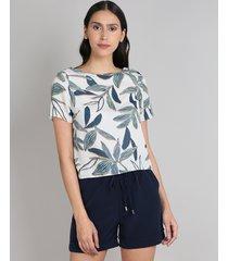 blusa feminina ampla estampada de folhagem manga curta decote redondo bege claro