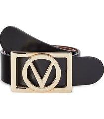 valentino by mario valentino women's dolly logo leather belt - black - size l