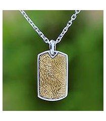 men's sterling silver pendant necklace, 'golden fur' (indonesia)
