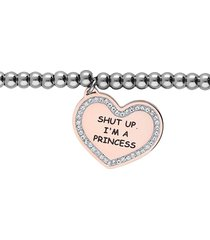 "bracciale ""shut up, i'm a princess"" in acciaio con ciondolo rosato e strass per donna"