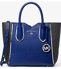 mk borsa messenger mae piccola in pelle martellata con logo - zaffiro (blu) - michael kors