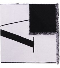valentino vltn intarsia-knit scarf - black