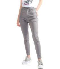 pantalón para mujer  tipo skinny, tiro alto color-gris-talla-8