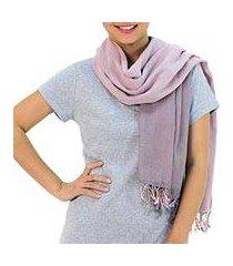 cotton reversible scarf, 'grey pink duet' (thailand)