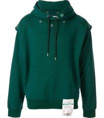 maison mihara yasuhiro press stud fastened hoodie - green