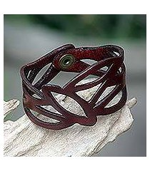 leather wristband bracelet, 'crimson nest' (indonesia)