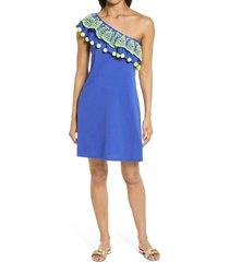 women's lilly pulitzer idara one-shoulder ruffle dress, size x-large - blue