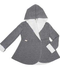 casaco leve forrado com capuz gingga baby e kids cinza claro - cinza - menina - poliã©ster - dafiti