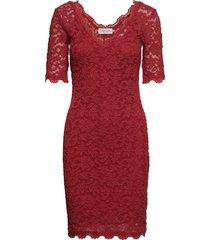 dress ss knälång klänning röd rosemunde