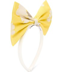 hucklebones london oversized bow floral print headband - neutrals