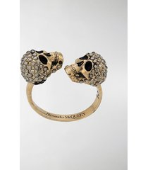 alexander mcqueen crystal-embellished skulls ring