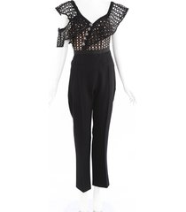 self portrait cut out eyelet jumpsuit black sz: m