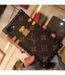 *brown aluminum eye trunk bag style case apple iphone6/6s iphone7/8 plus iphonex