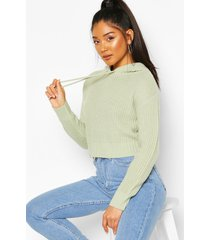 knitted hooded cropped sweater, sage