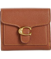 women's coach small tabby leather wallet - brown