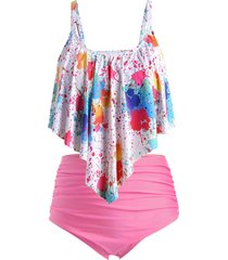 plus size splatter paint overlay ruched tankini swimsuit