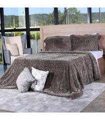 cobertor slim peles casal com porta travesseiro grime - tessi