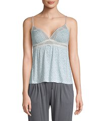 lace-trimmed printed camisole