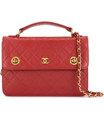 chanel pre-owned 1985-1993 diamond quilted turn-lock briefcase - red