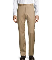 flat-front solid wool pants