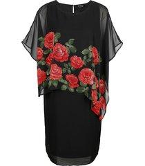 jurk m. collection zwart::rood