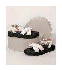sandália feminina oneself flatform puffer de amarrar off white