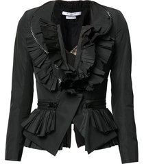 givenchy pre-owned zip detailing ruffled jacket - black