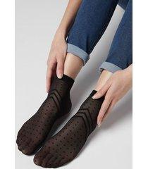 calzedonia women's patterned sheer socks woman black size tu
