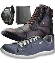 kit bota dhl masculino + sapatênis masculino + relógio + carteira slim - masculino