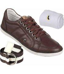 kit sapatênis bmbrasil couro + cinto + meia lupo