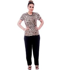pijama feminino blusa animal print viés calça comprida